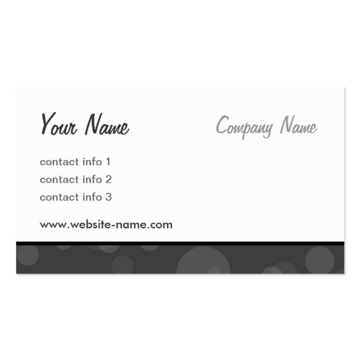 Bubbles Series - Black Pack Of Standard Business Cards