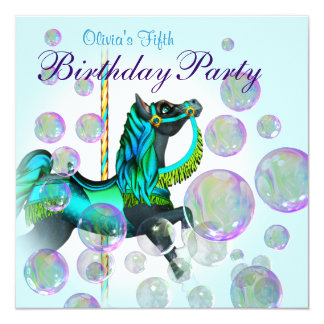 Bubbles Teal Blue Carousel Pony Girls Birthday Par Personalized Announcement