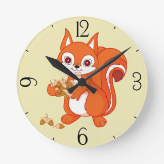 Bubbles the Helpful Squirrel Round Clock
