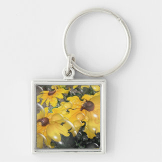 Bubbling Black-Eyed Susan Abstract Silver-Colored Square Key Ring