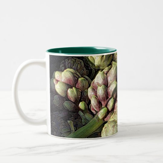 Bubbling Blue Pot of Artichokes Two-Tone Coffee Mug