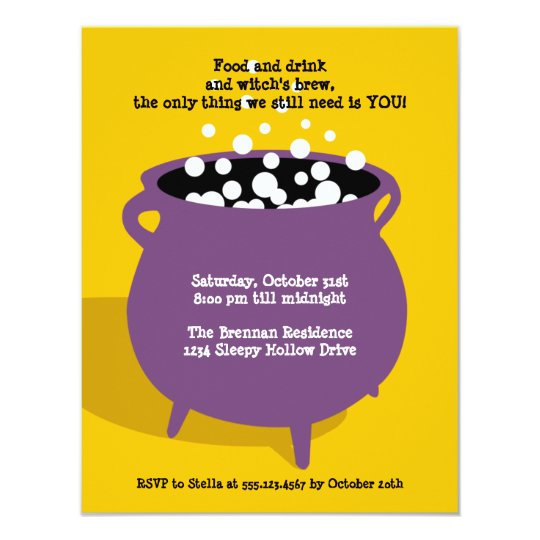 Bubbling cauldron potion yellow Halloween party Card