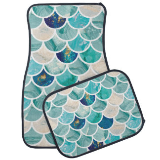 Bubbly Aqua turquoise marble mermaid fish scales Car Mat