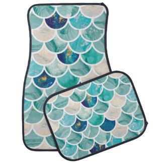 Bubbly Aqua turquoise marble mermaid fish scales Floor Mat