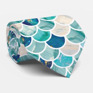 Bubbly Aqua turquoise marble mermaid fish scales Tie