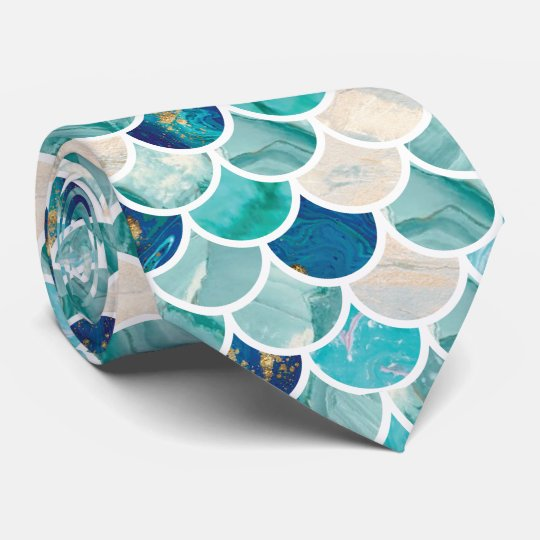 Bubbly Aqua turquoise marble mermaid fish scales Tie