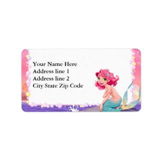 Bubbly beach summer cartoon mermaid photo frame address label