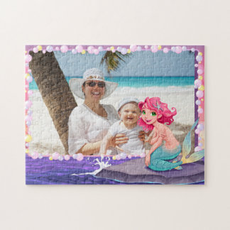Bubbly beach summer cartoon mermaid photo frame jigsaw puzzle
