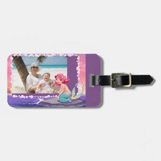 Bubbly beach summer cartoon mermaid photo frame luggage tag