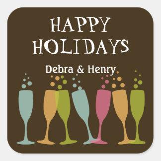 Bubbly champagne glasses fun holiday favor tag square sticker