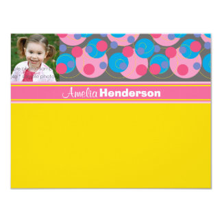 Bubbly Circles Pink Kids (R) Photo Thank You Card 11 Cm X 14 Cm Invitation Card