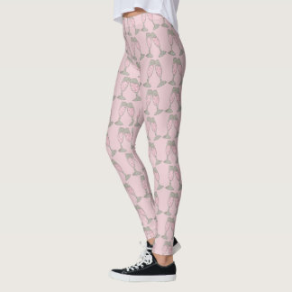 Bubbly Pink Champagne Bride Wedding Cheers Legging
