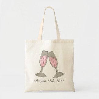 Bubbly Pink Champagne Wedding Date Bridal Shower Tote Bag