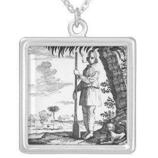 Buccaneer in the West Indies, 1686 Silver Plated Necklace