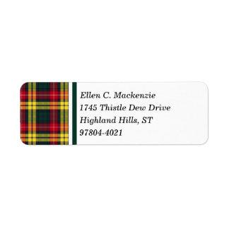 Buchanan Clan Red, Yellow and Green Tartan Return Address Label