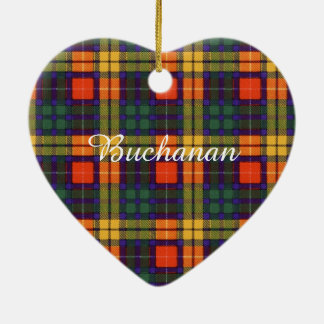 Buchanan Family clan Plaid Scottish kilt tartan Ceramic Heart Decoration