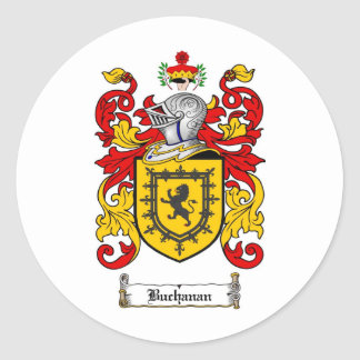 BUCHANAN FAMILY CREST -  BUCHANAN COAT OF ARMS CLASSIC ROUND STICKER