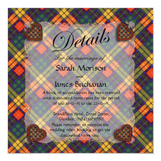 Buchanan Scottish clan tartan - Plaid 13 Cm X 13 Cm Square Invitation Card