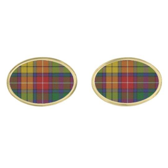 Buchanan Tartan Plaid Cuff Links Gold Finish Cufflinks