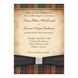 Buchanan Weathered Tartan Wedding Invitation