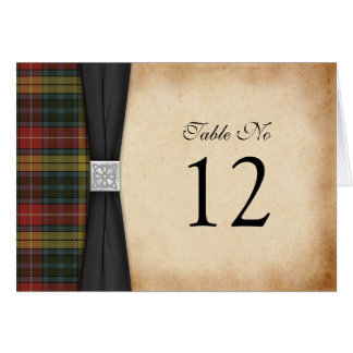 Buchanan Weathered Tartan Wedding Table Card