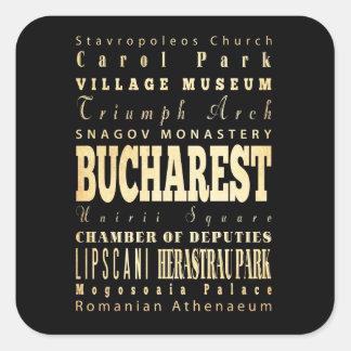 Bucharest City of Romania Typography Art Square Sticker