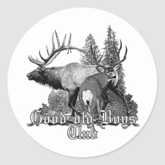 Buck and bull wildlife round sticker