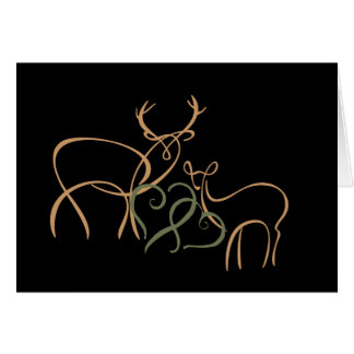 Buck and Doe in Love Note Card