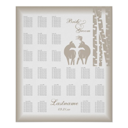 Buck and Doe Seating Chart with Birch Trees