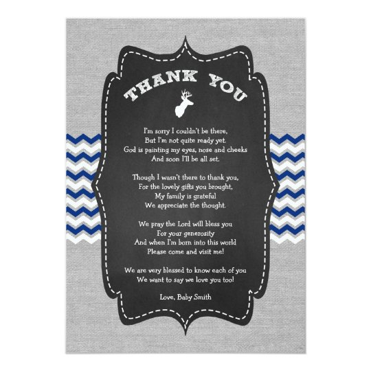 Buck Baby Shower Thank you note with poem