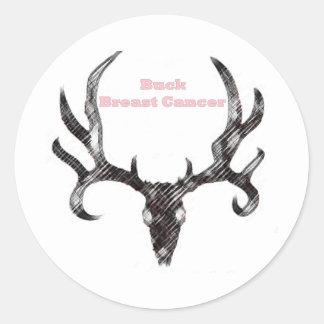 Buck Breast Cancer Classic Round Sticker