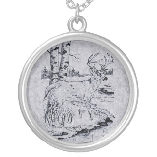 Buck Creek Pen and Ink Drawing Round Pendant Necklace