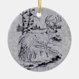 Buck Creek Round Faux Marble Christmas Ornament