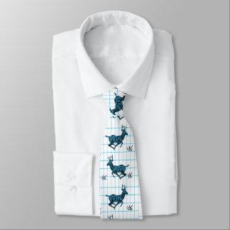 Buck Deer Black/Blue Paisley On Blue Check Tie