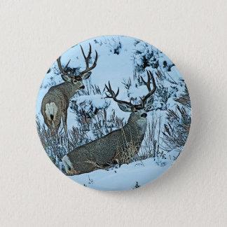 Buck deer in snow 6 cm round badge