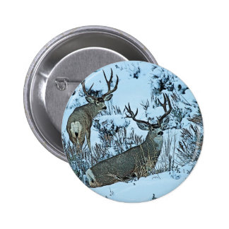 Buck deer in snow 6 cm round badge