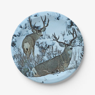 Buck deer in snow paper plate