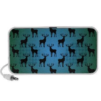 Buck Deer Pattern on Blue Green Travelling Speakers
