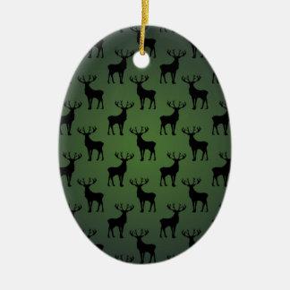 Buck Deer Pattern on Green Christmas Ornament