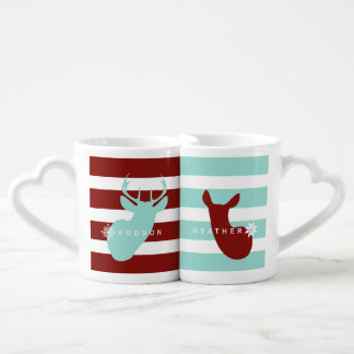 Buck + Doe Snowflakes Mugs Blue + Red