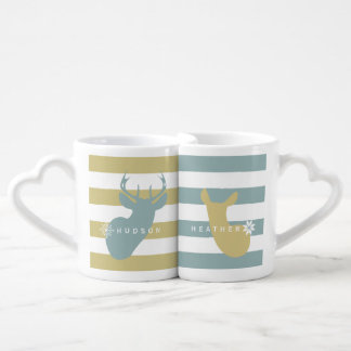 Buck + Doe Snowflakes Mugs Blue + Yellow