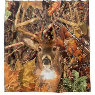 Buck Head in Camouflage White Tail Deer Shower Curtain