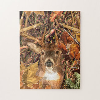 Buck in Camo White Tail Deer Jigsaw Puzzle