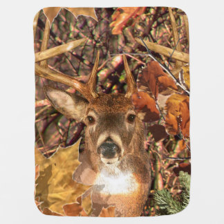 Buck in Camouflage White Tail Deer Baby Blanket