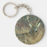 Buck in the Grass Key Chain