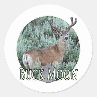 buck moon round sticker