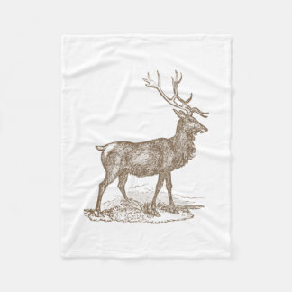 Buck Mule Deer Letterpress Style Fleece Blanket
