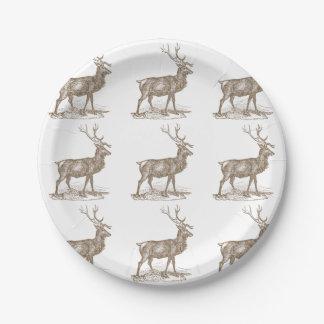 Buck Mule Deer Letterpress Style Paper Plate