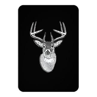 Buck on Black design White Tail Deer 9 Cm X 13 Cm Invitation Card