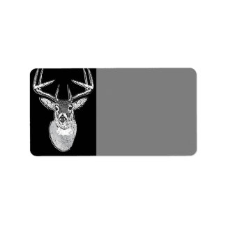 Buck on Black design White Tail Deer Label